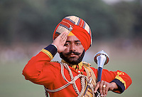 Ceremonial guard in military band in Delhi, India