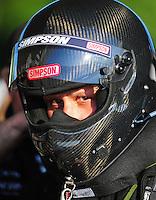 May 4, 2012; Commerce, GA, USA: NHRA funny car driver Todd Lesenko during qualifying for the Southern Nationals at Atlanta Dragway. Mandatory Credit: Mark J. Rebilas-