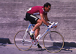 The Giro 100 Points Classification leader's jersey will be the classic Maglia Ciclamino, the colour of the jersey from 1970 to 2009. Segafredo Zanetti is the new sponsor. Giro d'Italia 1986 Guido Bontempi in Maglia Ciclamino. Italy. 18th April 2017.<br /> Picture: BettiniPhoto | Cyclefile<br /> <br /> <br /> All photos usage must carry mandatory copyright credit (&copy; Cyclefile | BettiniPhoto)