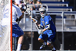 08 February 2015: Air Force's Keith Dreyer (21). The Duke University Blue Devils hosted the United States Air Force Academy Falcons at Koskinen Stadium in Durham, North Carolina in a 2015 NCAA Division I Men's Lacrosse match. Duke won the game 13-7.
