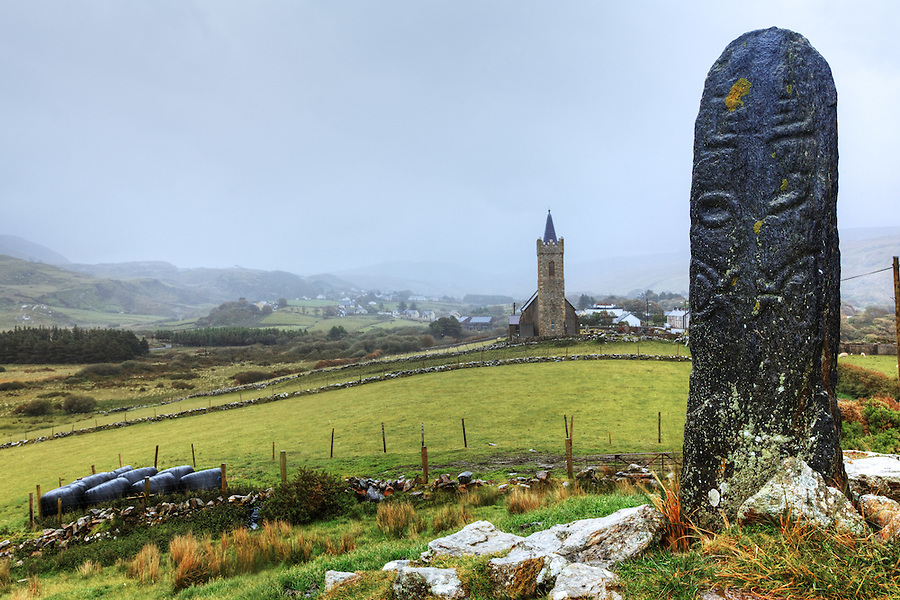 Cross pillar and St. Columba's Church, Glencolmcille, County Donegal, Republic of Ireland