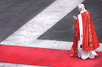 Pope Benedict XVI benedicts faithful during an open-air Palm Sunday mass in St. Peter's square at the Vatican Sunday, March 16, 2008..