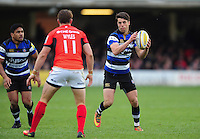 Adam Hastings of Bath Rugby in possession. Aviva Premiership match, between Bath Rugby and Saracens on December 3, 2016 at the Recreation Ground in Bath, England. Photo by: Patrick Khachfe / Onside Images