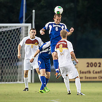 Winthrop University Eagles vs the Brevard College Tornados at Eagle's Field in Rock Hill, SC.  The Eagles beat the Tornados 6-0.  Ryan Vandenberg (6) heads the ball.