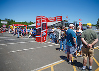 Jun 10, 2016; Englishtown, NJ, USA; NHRA fans at the Toyota Pit Pass display on the midway during qualifying for the Summernationals at Old Bridge Township Raceway Park. Mandatory Credit: Mark J. Rebilas-USA TODAY Sports