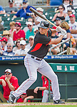 10 March 2015: Miami Marlins outfielder Tyler Colvin in Spring Training action against the Washington Nationals at Roger Dean Stadium in Jupiter, Florida. The Marlins edged out the Nationals 2-1 on a walk-off solo home run in the 9th inning of Grapefruit League play. Mandatory Credit: Ed Wolfstein Photo *** RAW (NEF) Image File Available ***
