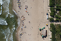 Early in the day the beach at Wladyslawowo on the Baltic Sea has just a few visitors.