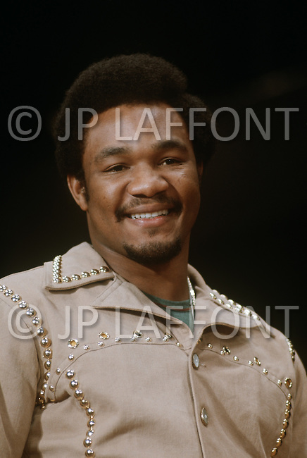 Madison Square Garden, New York, NY, March 8, 1971. George Foreman among the crowd during the Joe Frazier vs. Muhammad Ali fight for the World Heavyweight Champion title.