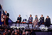 United States President Gerald R. Ford makes remarks at the ceremony where George H.W. Bush is sworn in as new director of the Central Intelligence Agency at CIA headquarters in Langley, Virginia on January 30, 1976. Bush succeeds William Colby who retired. From left to right: President Ford, William Colby, Director. Bush, Barbara Bush, Lieutenant General Vernon A. Walters, U.S. Army, and U.S. Supreme Court Associate Justice Potter Stewart <br /> Credit: Barry Soorenko / CNP