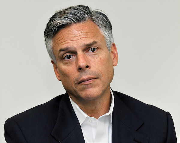 Milford, New Hampshire: August 2, 2011<br /> Presidential candidate Jon Huntsman Jr. sits in a boardroom during a campaign stop at a company named Cirtronics. &copy;Chris Fitzgerald / Candidate Photos