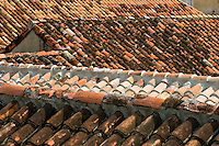 Tile roofs, Cartagena de Indias, Bolivar Department,, Colombia, South America.