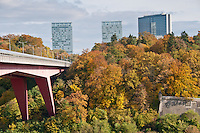 The Grand Duchesse Charlotte bridge (the red bridge) connecting the main city center and the plateau de Kirchberg with his banks and european institutions.