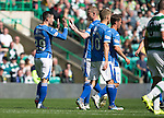 Celtic v St Johnstone...29.08.15  SPFL   Celtic Park<br /> Michael O'Halloran celebrates with Brian Easton after his cross was defelcted in by Dedrick Boyata for an own goal<br /> Picture by Graeme Hart.<br /> Copyright Perthshire Picture Agency<br /> Tel: 01738 623350  Mobile: 07990 594431