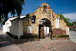 Front exterior entrance to the Old Grape Vine at Grapevine Park in the mission district of San Gabriel, CA