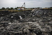 Crash site of flight MH17 Malaysian Airways Boeing 777, Hrabove, Eastern Ukraine.