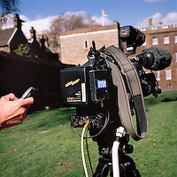 UK. London. From a story on Abingdon Street Gardens, a small patch of land, often referred to as College Green, that lies next to The Houses of Parliament in Westminster. It is a place where the media and the politicians come face to face. Interviews are held, photo shoots are set up and bewildered tourists stroll by..Photo shows a TV camera..Photo©Steve Forrest/Workers Photos