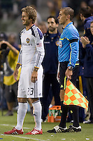 LA Galaxy midfielder David Beckham readies himself on the sideline before entering the game after a long layoff due to injury. The LA Galaxy defeated the Columbus Crew 3-1 at Home Depot Center stadium in Carson, California on Saturday Sept 11, 2010.