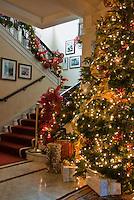 Decorated Lit Xmas Tree, Stairway, Pasadena Tournament House