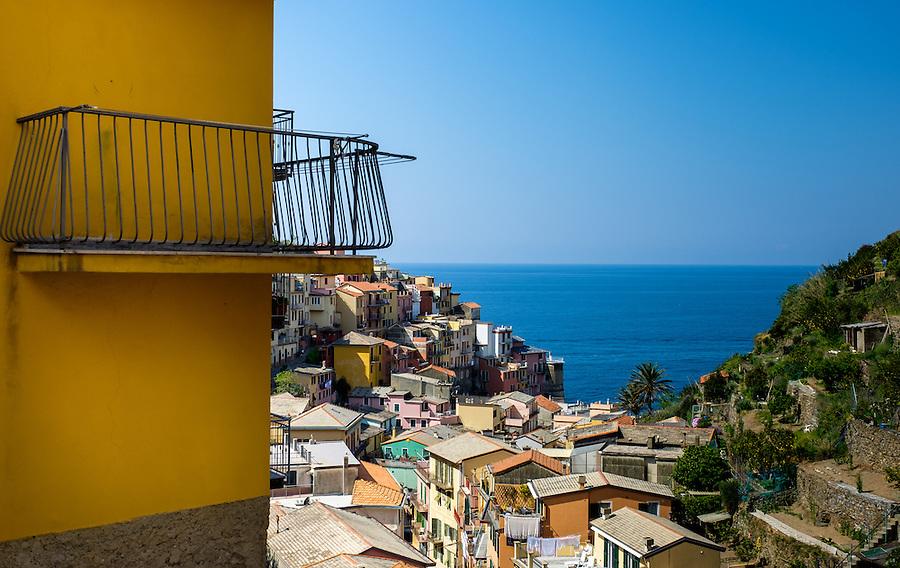 MANAROLA, ITALY - CIRCA MAY 2015:  Balcony overlooking the village of Manarola in Cinque Terre, Italy.