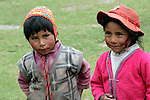 South America, Peru, Willoq. Peruvian boy and girl of Willoq.