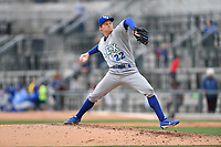 Pitcher Gavin Grant (22) of the Lexington Legends delivers a pitch in a game against the Columbia Fireflies on Sunday, April 23, 2017, at Spirit Communications Park in Columbia, South Carolina. Lexington won, 4-2. (Tom Priddy/Four Seam Images)