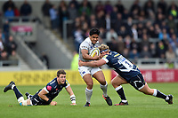 Ben Tapuai of Bath Rugby takes on the Sale Sharks defence. Aviva Premiership match, between Sale Sharks and Bath Rugby on May 6, 2017 at the AJ Bell Stadium in Manchester, England. Photo by: Patrick Khachfe / Onside Images