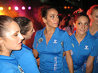 September 13, 2009; Mie, Japan;  Group rhythmic gymnasts from Italy (middle L-R) Alisa Santoni and Giulia Galtarossa pose for photos during dance at banquet after 2009 World Championships Mie. Photo by Tom Theobald.