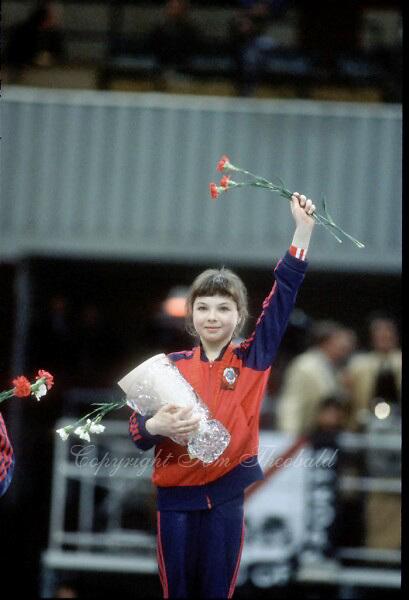November 23, 1981; Moscow, Soviet Union; Artistic gymnast Olga Bicherova of Soviet Union wins women's artistic gymnastics All Around gold at 1981 World Championships in Moscow, Soviet Union..(©) Copyright 1981 Tom Theobald