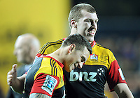 Chiefs Sonny Bill Williams, left and Brodie Retallick celebrate after their defeat over the Crusaders in the Super 15 Rugby semi final match, Waikato Stadium, New Zealand, Friday, July 27, 2012. Credit:SNPA / Ross Setford