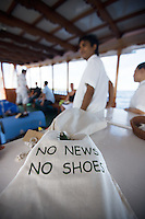 """November 25th, 2008_MALDIVES_ """"No news No shoes,"""" is the slogan at the Soneva Fushi resort island and the Baa Atoll in the Maldives.  Soneva Fushi is a leader in green practices and plans to be carbon neutral by 2010 by implementing projects such as a deep-sea water cooling system to replace it's traditional air conditioners.  Photographer: Daniel J. Groshong/Tayo Photo Group"""