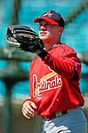 8 March 2006: David Eckstein, infielder for the St. Louis Cardinals, takes some warm-up tosses during batting practice prior to a Spring Training game against the Washington Nationals. The Cardinals defeated the Nationals 7-4 in 10 innings at Space Coast Stadium, in Viera, Florida...Mandatory Photo Credit: Ed Wolfstein.