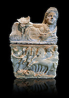 150-27 B.C Etruscan Hellenistic style cinerary urn,  National Archaeological Museum Florence, Italy , black background