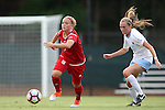 16 September 2016: NC State's Ricarda Walkling (GER) (left) and North Carolina's Annie Kingman (right). The University of North Carolina Tar Heels hosted the North Carolina State University Wolfpack in a 2016 NCAA Division I Women's Soccer match. NC State won the game 1-0.