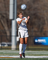 College of St Rose forward Michaela Phillips (23) heads the ball. . In 2012 NCAA Division II Women's Soccer Championship Tournament First Round, College of St Rose (white) defeated Wilmington University (black), 3-0, on Ronald J. Abdow Field at American International College on November 9, 2012.