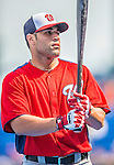 23 February 2013: Washington Nationals catcher Sandy Leon awaits his turn in the batting cage prior to a Spring Training Game against the New York Mets at Tradition Field in Port St. Lucie, Florida. The Mets defeated the Nationals 5-3 in their Grapefruit League Opening Day game. Mandatory Credit: Ed Wolfstein Photo *** RAW (NEF) Image File Available ***