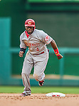 21 May 2014: Cincinnati Reds second baseman Brandon Phillips in action against the Washington Nationals at Nationals Park in Washington, DC. The Reds edged out the Nationals 2-1 to take the rubber match of their 3-game series. Mandatory Credit: Ed Wolfstein Photo *** RAW (NEF) Image File Available ***