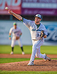 1 September 2013: Vermont Lake Monsters pitcher Joe Michaud on the mound against the Connecticut Tigers at Centennial Field in Burlington, Vermont. The Lake Monsters fell to the Tigers 6-4 in 10 innings of NY Penn League action. Mandatory Credit: Ed Wolfstein Photo *** RAW Image File Available ****
