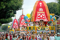 Harre Krishna's hand-pull three fully decorated, four-story chariots down Main Street during the 35th Annual Festival of Chariots on Sunday, July 31, 2011. The parade commenced at the Santa Monica Civic Auditorium and traveled south on Main St., west on Rose Ave., south on the Venice Boardwalk and ended at the Ocean Front Walk Plaza in Venice. The Festival of the Chariots featured free feast for thousands, free entertainment, exhibits and booths all bringing together the finest in Indian culture. The festival celebrates Lord Jagannatha, the Lord of the Universe, and is put on by the International Society for Krishna Consciousness (ISKCON). The Festival of the Chariots is now performed in every country across the world and dates back 5 thousand years to Jagannatha Puri, India.?