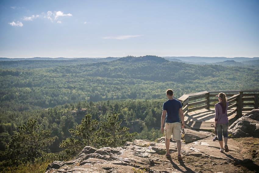 Hiking at Sugarloaf Mountain near Marquette, Michigan.