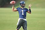Mississippi quarterback Randall Mackey (1) throws a pass during a drill as the Rebels began football practice in Oxford, Miss. on Saturday, August 6, 2011. The team began practicing outside before lightning in the area sent them indoors for practice. (AP Photo/Oxford Eagle, Bruce Newman)