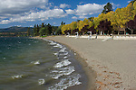 The Coeur d'Alene City beach on a windy autumn day. Coeur d'Alene, Idaho, USA