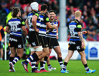 Jeff Williams of Bath Rugby celebrates his try with team-mates. Pre-season friendly match, between the Scarlets and Bath Rugby on August 20, 2016 at Eirias Park in Colwyn Bay, Wales. Photo by: Patrick Khachfe / Onside Images