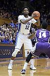 26 November 2014: Duke's Justise Winslow. The Duke University Blue Devils hosted the Furman University Paladins at Cameron Indoor Stadium in Durham, North Carolina in a 2014-16 NCAA Men's Basketball Division I game. Duke won the game 93-54.