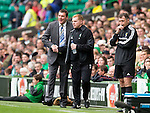 Celtic v St Johnstone...21.09.13      SPFL<br /> Tommy Wright and Neil Lennon shake hands before kick off<br /> Picture by Graeme Hart.<br /> Copyright Perthshire Picture Agency<br /> Tel: 01738 623350  Mobile: 07990 594431