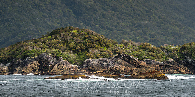 Volcanic rock formations of Shelter Islands in Doubtful Sound, Fiordland National Park, UNESCO World Heritage Area, Southland, New Zealand, NZ