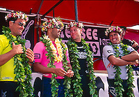 Vetea David (PYF) Sunny Garcia (HAW), Ross Williams(HAW) and Kelly Slater (USA)  after the running of the 1994 Chiemsee Pipeline Masters. Slater won the event and also claimed the 1994 World Surfing Title. Photo: www.joliphotos.com