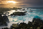 The allure of the ocean, especially the Pacific crashing along the California coast, is undeniable. I've intentionally blurred the water's motion to provide an interesting counterpoint to the rocks jagged profiles.<br />