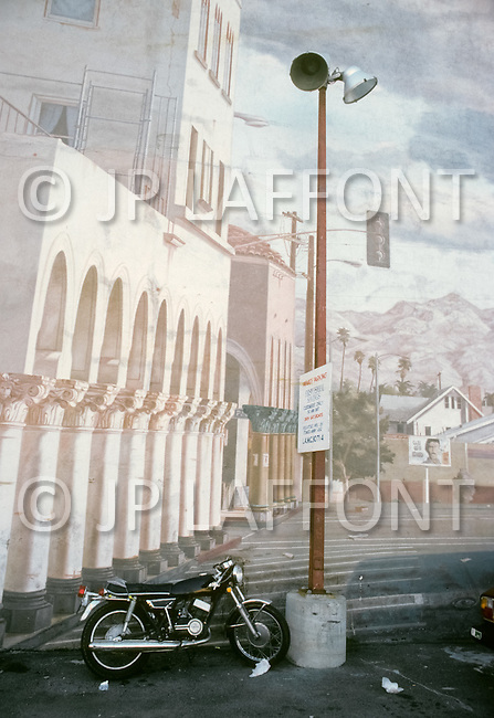 """Venice Beach, California, U.S.A, March, 1980. In 1904, Abbot Kinney wanted to recreate Venice, even copy the Campanile. When he couldn't he had artists to make the venecian """"trompe l'oeil""""."""