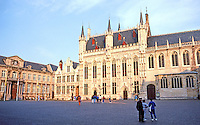 Bruges: In the Burg, Palace of Justice to left, then Old Recorder's House. In center, Town Hall (1376), then 12th C. Basilica of the Holy Blood.  Photo '87.