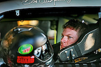 Dale Earnhardt, Jr. in the garages making adjustments to his car during week two of testing at International Speedway, Daytona, Daytona Beach, Monday, January 14, 2008. (Roberto Gonzalez/Orlando Sentinel)